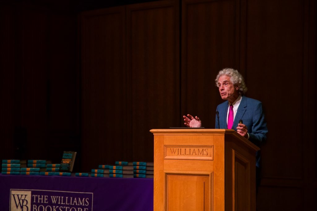 Steven Pinker argued that the Enlightenment has ushered in a golden age of human prosperity through reason, science, humanism and progress. Katie Brule/Photo Editor.
