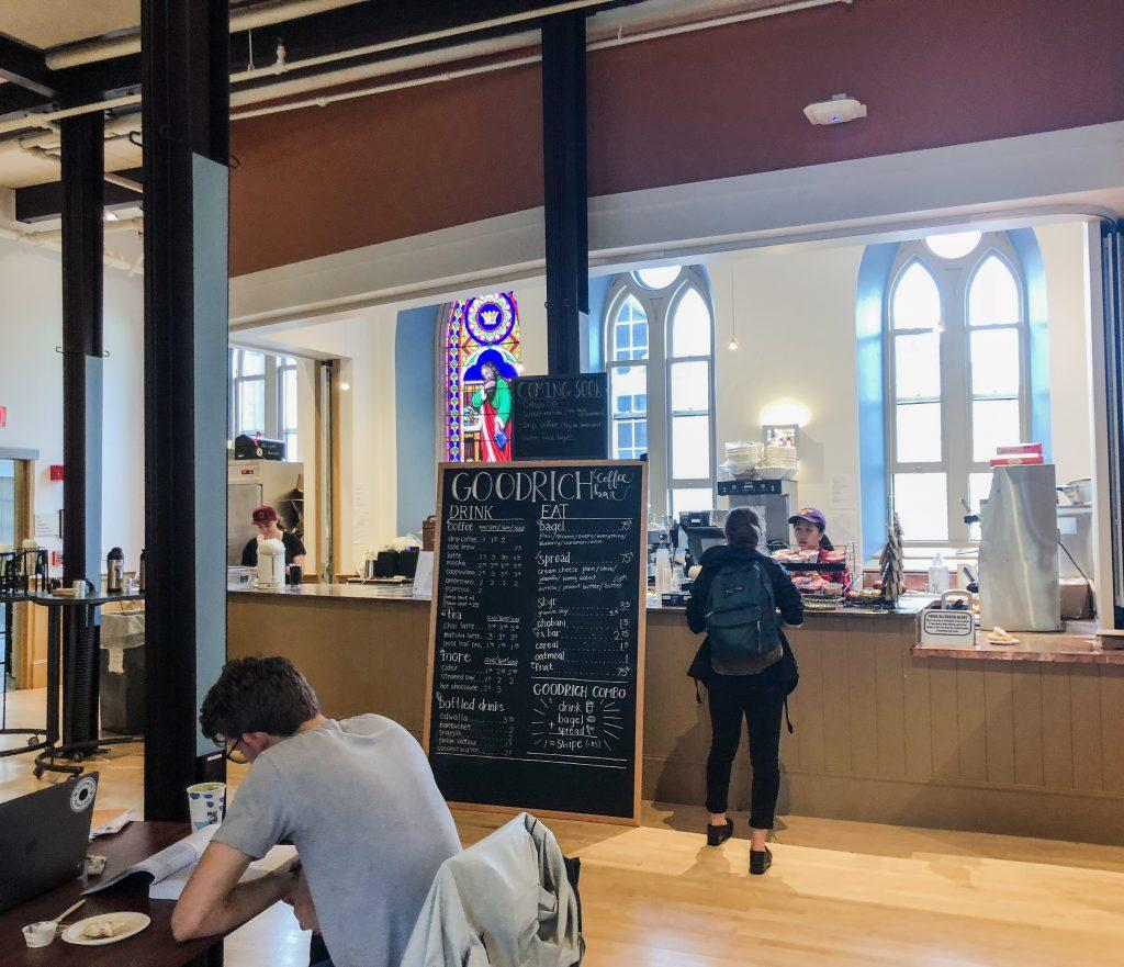 After a year in Dodd House, Goodrich coffee bar returned to Goodrich Hall yesterday following renovations.  Katie Brule/Photo Editor.