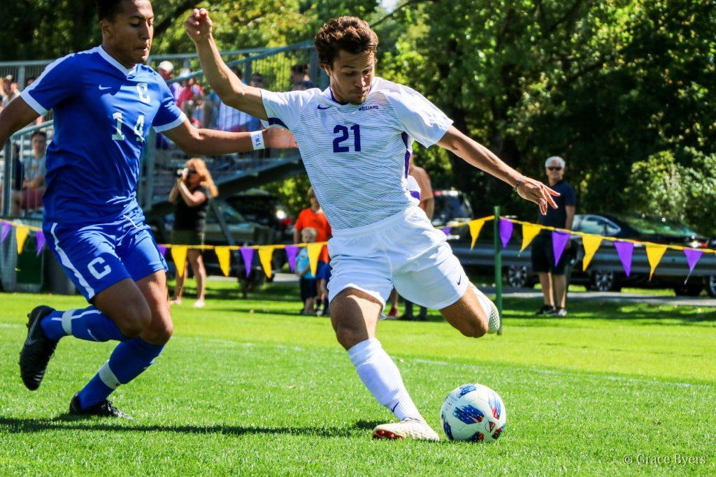 Chris Fleischer '19 scored the final goal, allowing the men to defeat archrival Amherst 2-1.  Photo courtesy of Sports Information.