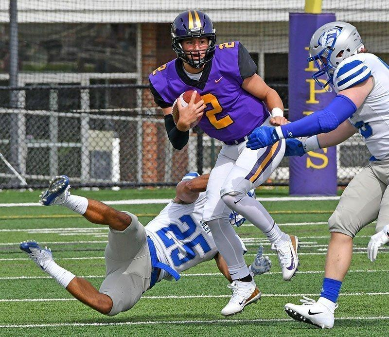 Bobby Maimaron '21 tied his own single-game rushing touchdown record, with four on Saturday. Photo courtesy of Sports Information.