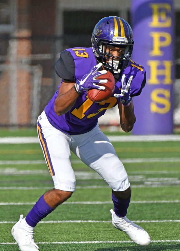 Justin Nelson '21 recorded 59 receiving yards and caught the first touchdown for the Ephs on Saturday. Photo courtesy of Sports Information.