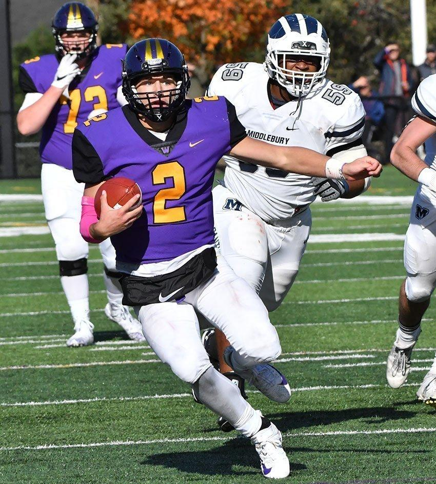 Bobby Maimaron '21 rushed for 135 yards but only recorded 107 passing yards against the Tufts defense. Photo Courtesy of Sports Information.