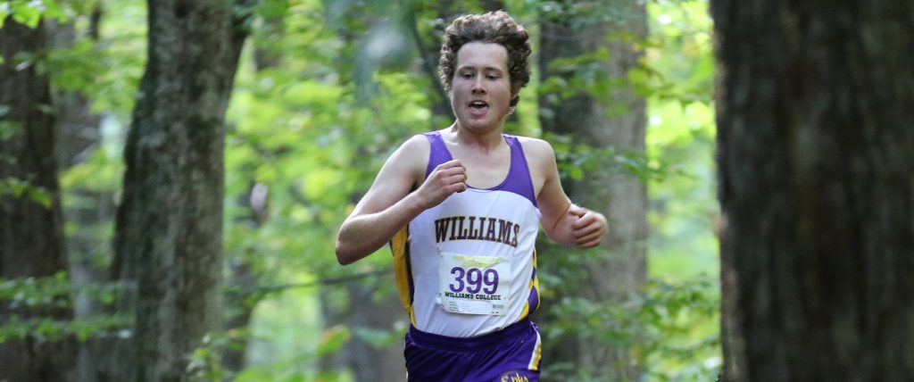Ryan Cox '20 earned his first varsity win at the NESCAC Championships in a time of 25:27.8, helping his team place second overall. Photo Courtesy of Sports Information.