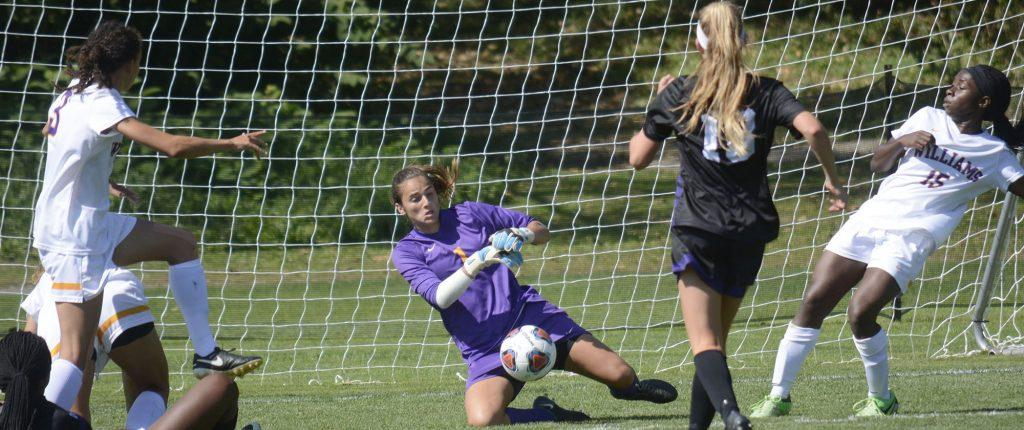 Olivia Barnhill '19 recorded five saves this weekend, helping the Ephs hold the lead against the Cardinals and the Polar Bears.  Photo Courtesy of Sports Information.