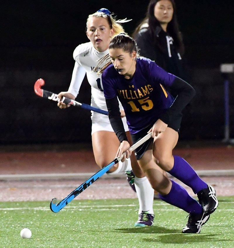 Claire Fitzpatrick '21 contributed two assists in the Ephs' upset of Middlebury last Tuesday. Photo Courtesy of Sports Information.