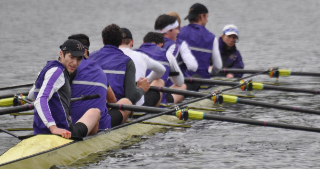 Men's crew placed second at its first meet of the fall season, with the 1V boat taking silver at the Head of the Snake Regatta. Photo Courtesy of Sports Information.