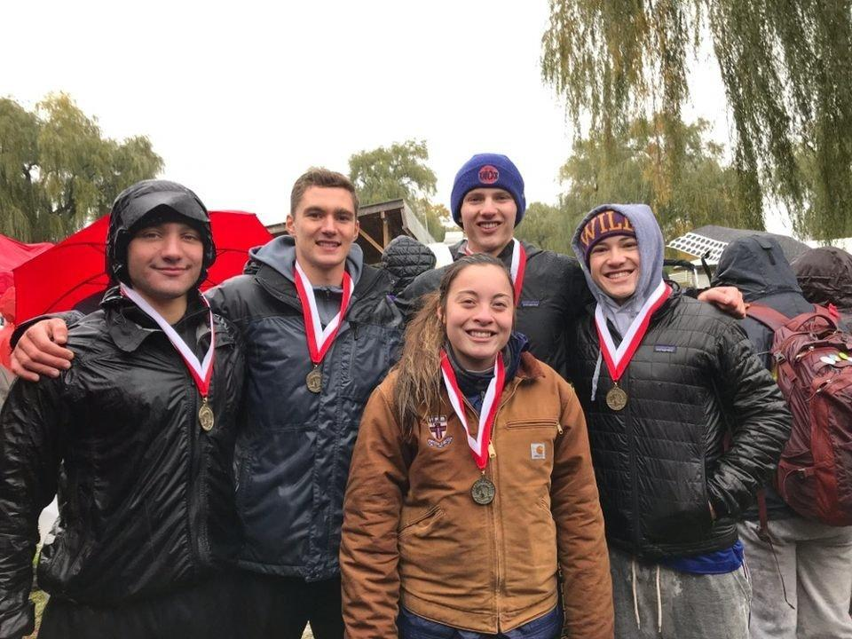 "Men's crew braved the cold conditions of Fish Creek and the 4+ ""B""  boat (above) took home silver.  Photo Courtesy of Sports Information."