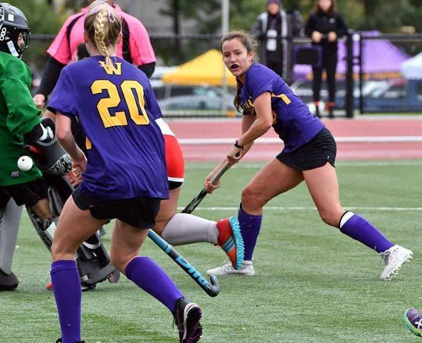 Isabel Perry '20 had two assists in the match against Wesleyan on Saturday en route to a 2-1 win. Photo courtesy of Sports Information.
