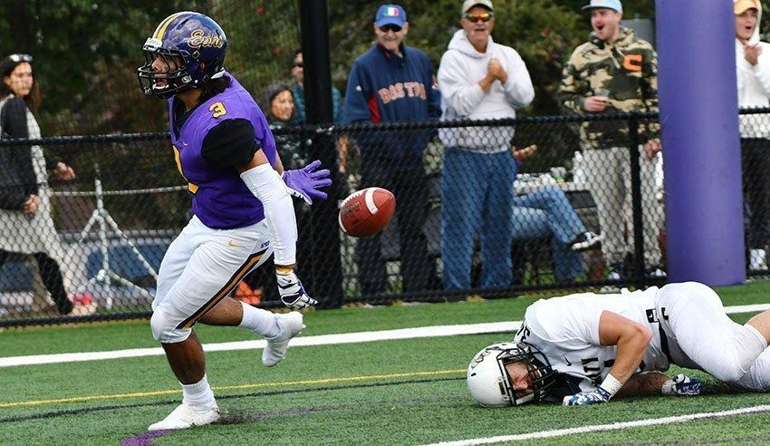 Receiver Frank Stola '21 caught two touchdowns during the Ephs' comeback against Trinity. Photo Courtesy of Sports Information.