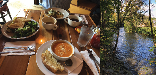 Great Barrington offers a full day of attractions, from brunch (left) to walks by the Housatonic River (right). Rachel Scharf/Managing Editor