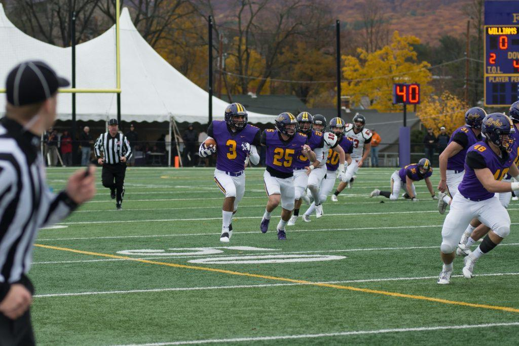 Frank Stola '21 caught two late touchdown passes to lead the Eph's furious comeback effort against the Cardinals at Homecoming. Photo courtesy of Sports Information.