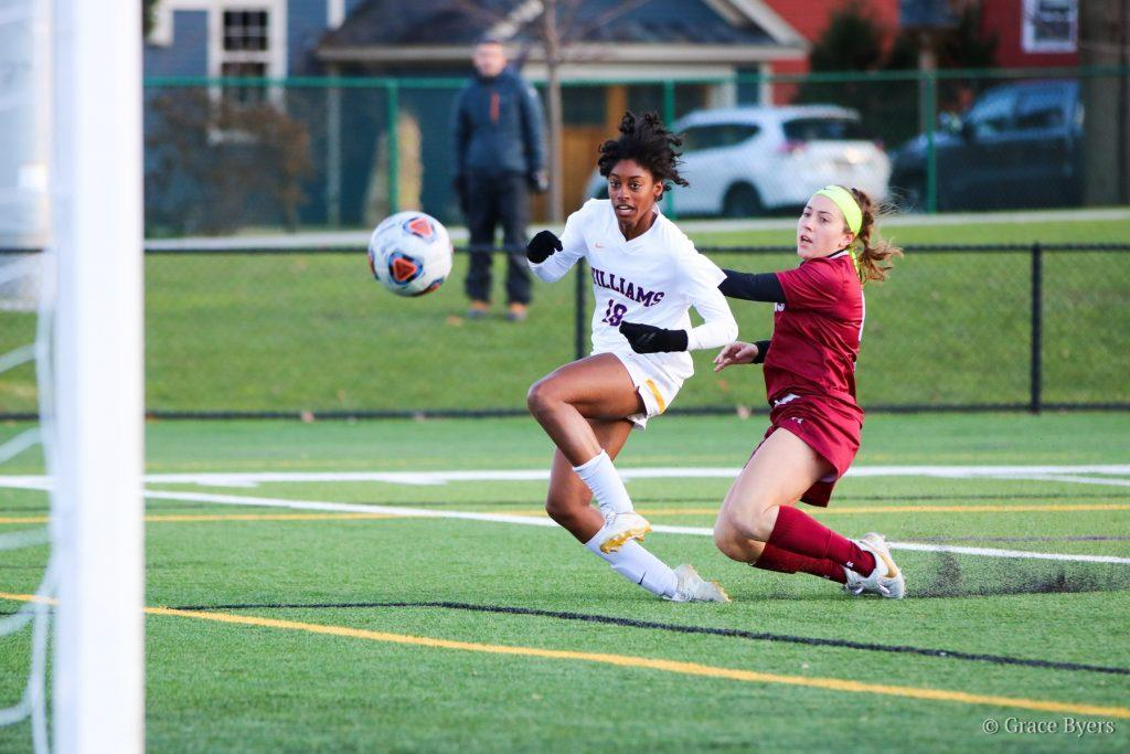 Sydney Jones '21 scored the game-winning goal against Stevens Institute of Technology in the 83rd minute to advance the Ephs to the Sweet 16. Photo Courtesy of Sports Information.