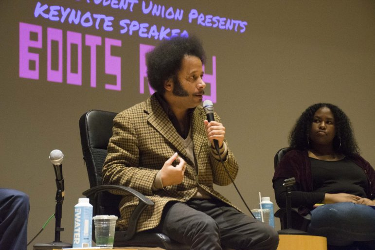 Activist, director, rapper, screenwriter, musician and filmmaker Boots Riley spoke in Paresky Auditorium as this year's Black History Month keynote. SABRINE BRISMEUR/PHOTO EDITOR