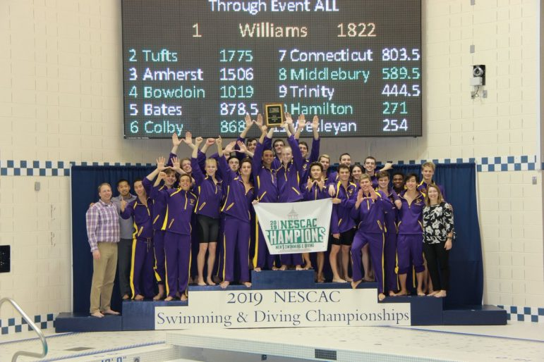 The men scored 1822 points, narrowly knocking off defending champion Tufts by 46.5 points. Amherst finished third with 1506 points.