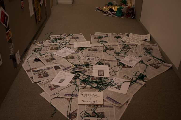 An installation in solidarity wih Green and Love in Hollander Hall. ANIAH PRICE/PHOTO EDITOR