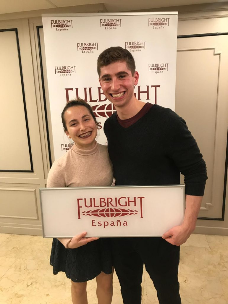 Two of last year's Fulbright recipients, Nohemi Sepulveda '18 (right) and Jacob Sperber '18, met up in Valencia, Spain, for a mid-year conference. PHOTO COURTESY OF JACOB SPERBER.