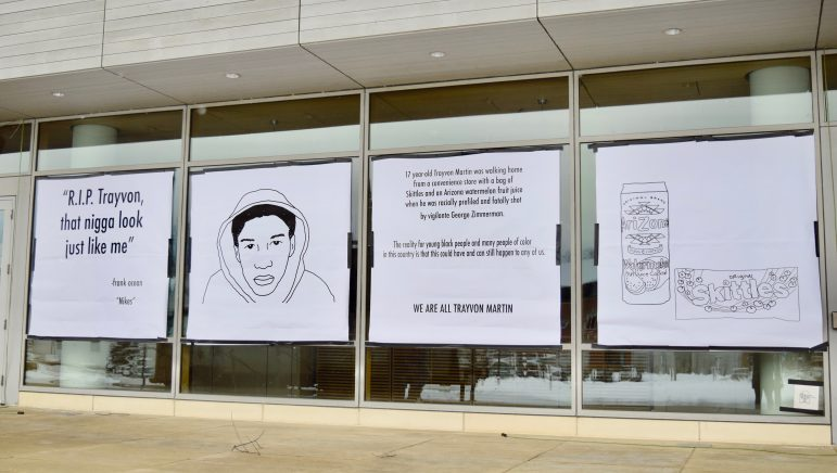 Four new posters were placed outside Paresky on Monday, including the original banners Frank Ocean lyrics and a drawing of Trayvon Martin. ANIAH PRICE/PHOTO EDITOR