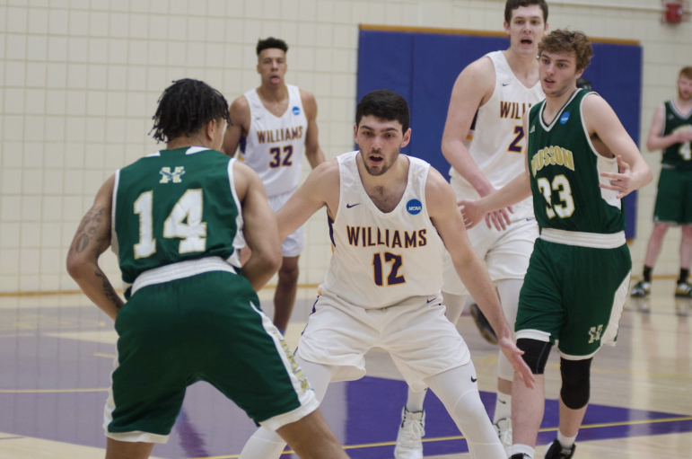 Henry Feinberg '20 scored an emphatic dunk off a missed 3-pointer in the second half against Husson.