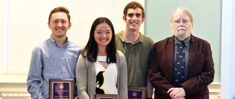 Honorees Ryan Rilinger '20, Cordelia Chan '19 and Zeke Cohen '19 are pictured with Charlie Pierce. Photo courtesy of Sports Information.