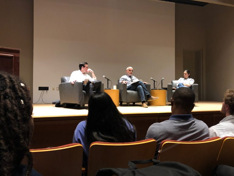 Last Wednesday, Nico Perino, Steven Gerrard and Luana Maroja responded to student questions surrounding their positions on free speech at the College. ARRINGTON LUCK/NEWS EDITOR