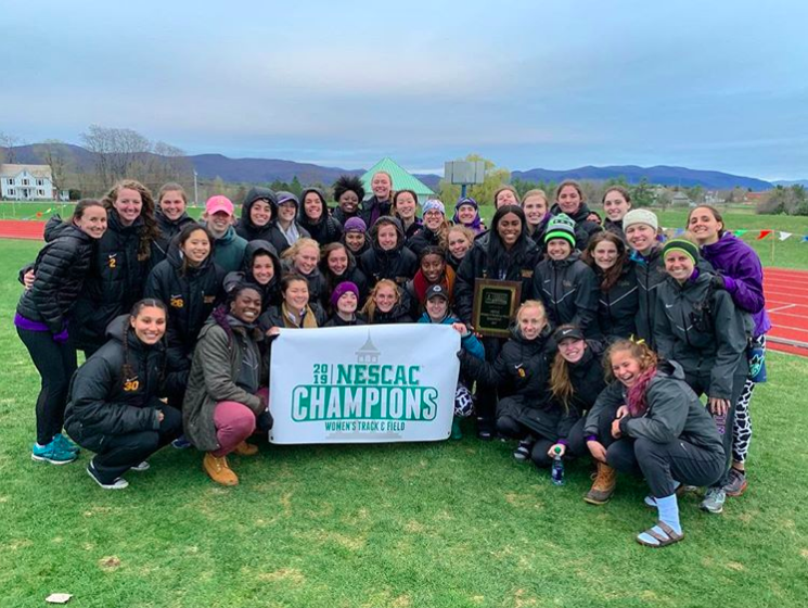 The women secured their 26th conference title in school history on Saturday after finishing 19.5 points ahead of runner-up Middlebury. Photo courtesy of Williams Track and Field.