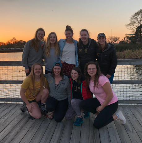 The women's crew team, including their members pictured above, traveled to Myrtle Beach, S.C., to train over spring break. Photo courtesy of Eph Rowing.