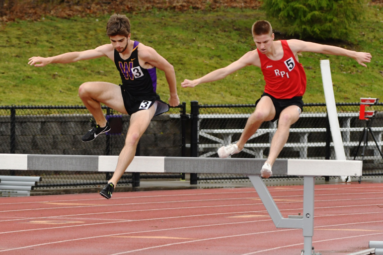 Jake Lange '21 finished seventh in the 3000m steeplechase, while teammates Jacob Kahrs '19 and Ryan Watson '22 placed second and tenth. Photo courtesy of Sports Information.