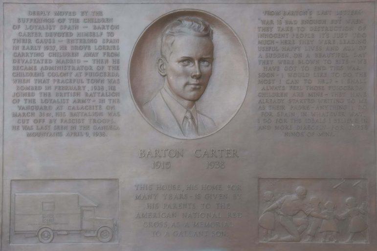 Memorial pays tribute to Spanish Civil War volunteer Barton Carter '37