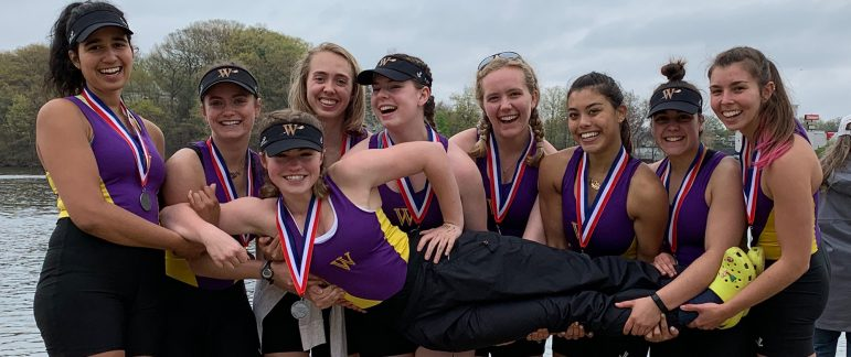 Women's crew finished third in the New England Rowing Championships at Lake Quinsigamond in Worcester on Saturday. Photo courtesy of Sports Information.