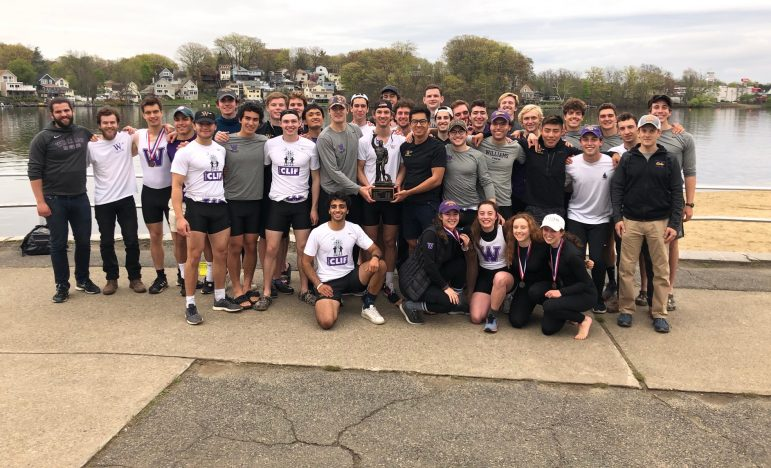 Men's crew claimed a victory on Saturday after all four boats earned medals. The 4V and 3V won silver, and the 2V and 1V earned bronze. Photo courtesy of Sports Information.