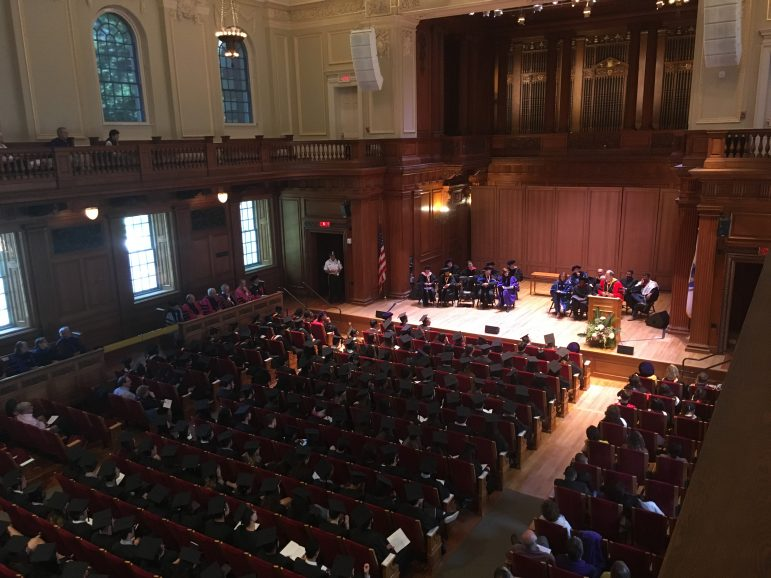 Martin Samuel '67 gives an address to the senior class after he, along with three other alumni, received this year's Bicentennial Medals from President Maud S. Mandel.  Photo Courtesy of Joey Fox