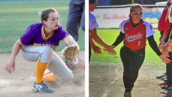 Joey Lye '09, a former softball shortstop and women's hockey captain at the College, will make her first Olympics appearance next summer, after 10 years of professional play. Photos courtesy of Sports Information.