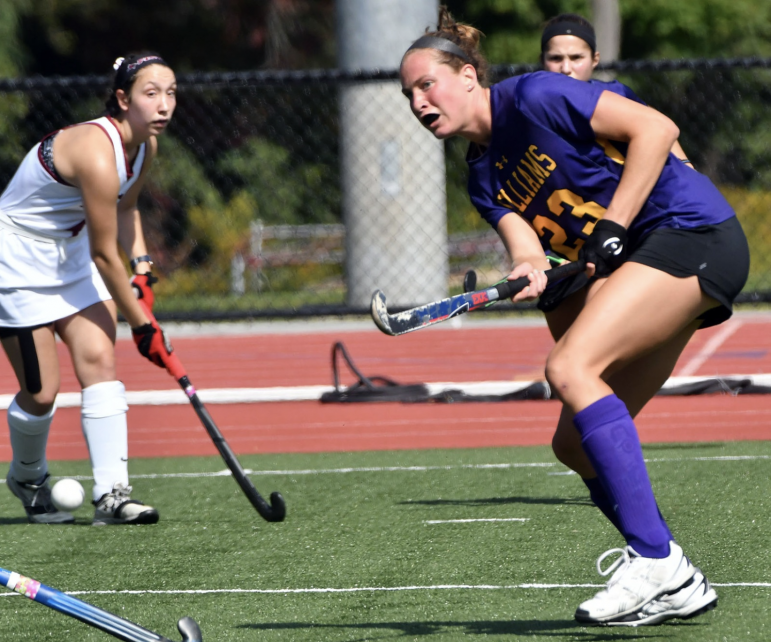 Emma Ticknor '20 scored her third goal of the season during Saturday's game against St. John Fisher,  securing a 4-0 victory. Photo courtesy of Sports Information.