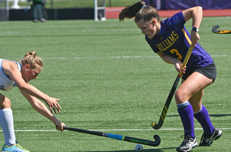 The field hockey team welcomed 14 first-year players this fall, including Emily Batchelor '23 (right).    PHOTO COURTESY OF SPORTS INFORMATION