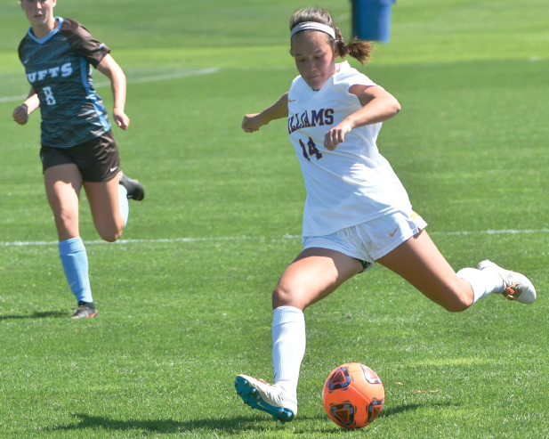 Georgia Lord '21 scored the tie-breaking goal for the Ephs in Saturday's 2-1 win over the Jumbos. Photo courtesy of Sports Information.