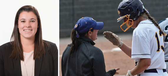Mackenzie Keyes, assistant coach of softball, has been at the College for three years and received the Tara VanDerveer Fund grant from the Woman's Sports Foundation last week. Photos courtesy of Sports Information.