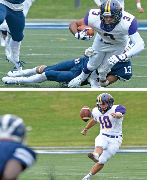 Frank Stola '21 (top) secured two touchdowns for the Ephs during Saturday's season opening loss against the Panthers. Punter and kicker Andrew Schreibstein '22 (bottom) pushed a 12-10 Eph lead to 13-10 with a successful extra point conversion. Photos courtesy of Sports Information.