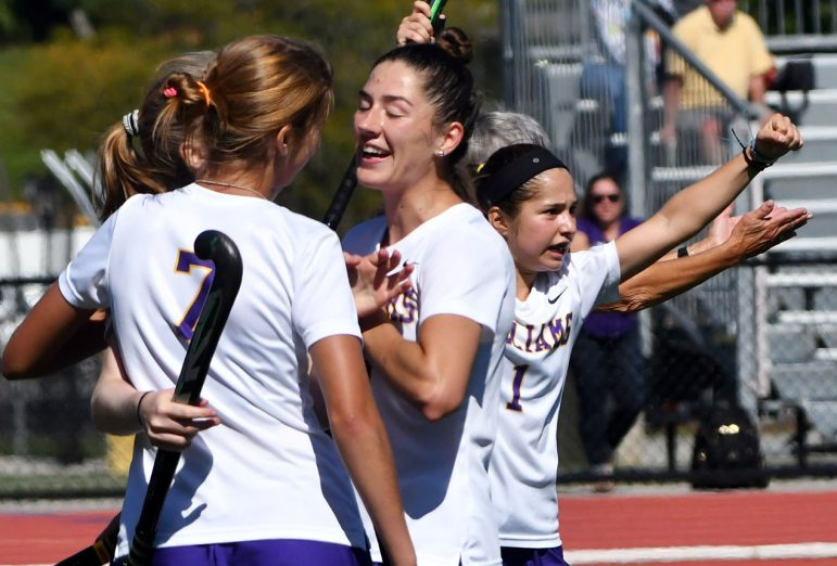 The women are currently second in the NESCAC standings, behind undefeated Middlebury. Photo courtesy of Sports Information.