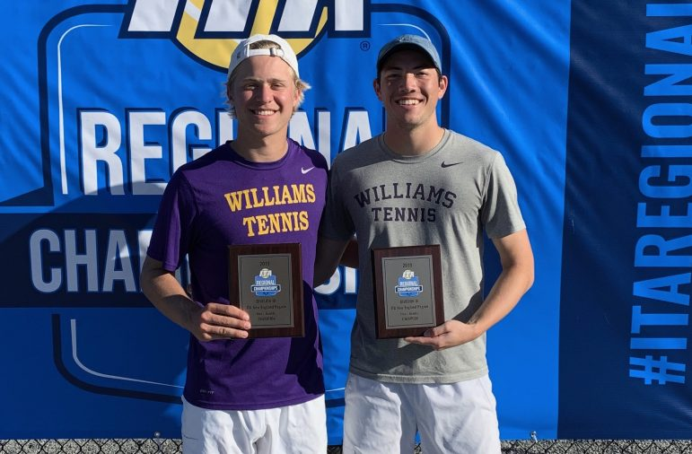 The first-seeded duo of Frelinghuysen and Taylor won amongst a field of 32 doubles pairs from 20 colleges in New England. Photo courtesy of Michael Medvedev.