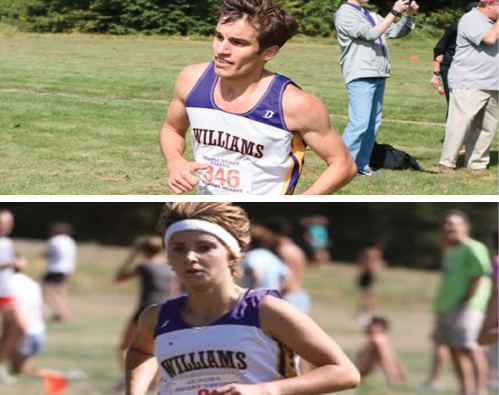 Bijan Mazaheri '16 (top) finished at 2:15:26, and Annie Dear '13 (bottom) finished at 2:41:52. (Photo Courtesy of Sports Information.)