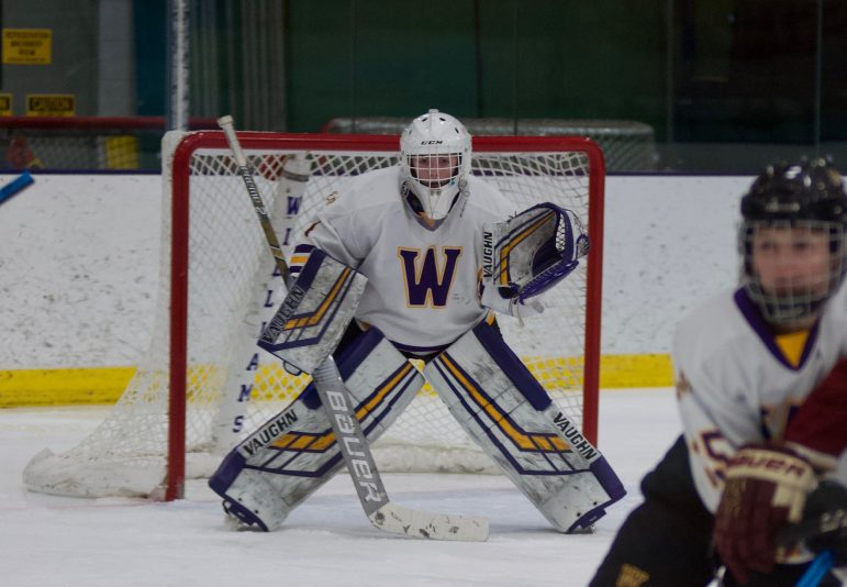 Returning women's ice hockey goalie Chloe Heitling '22 had 532 saves in her 24 games played last season. (Photo courtesy of Sports Information.)