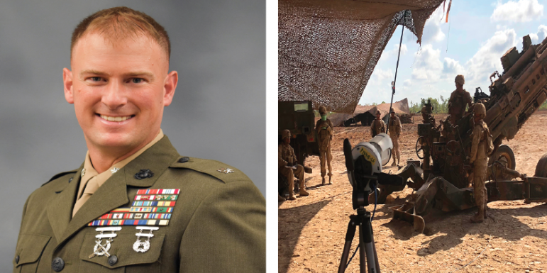 Lt. Col. Cook '98 built a partnership with the Los Angeles Rams and USC Trojans to incorporate film into Marine training. (Photos Courtesy of the Hoover Institution and Sporttechie.com.)