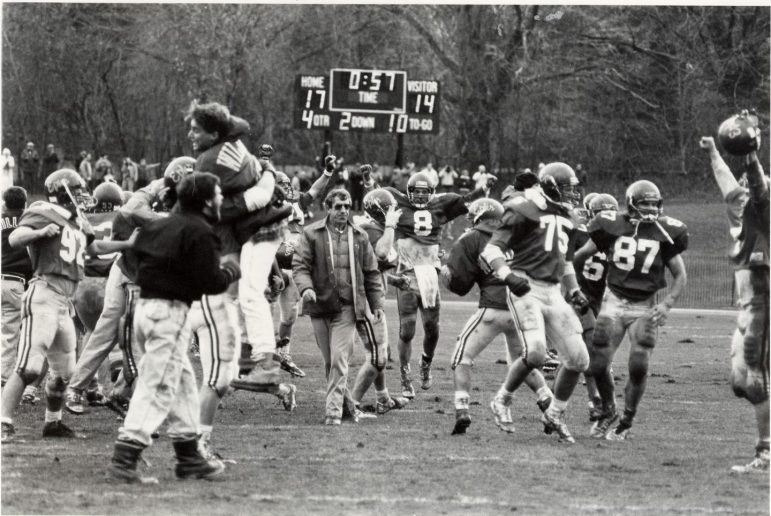 Football finished 1989 with a perfect 8–0 record after a 17-14 homecoming victory over Amherst. (Bill Tague/The Berkshire Eagle.)