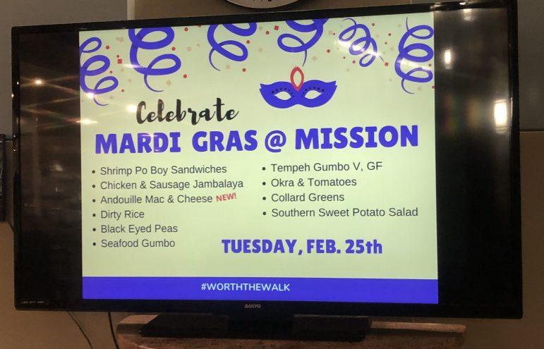 KRISTEN BAYRAKDARIAN/THE WILLIAMS RECORD Mission's Mardi Gras-themed dinner last week featured Southern cuisines such as gumbo and jambalaya.