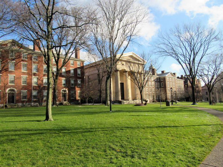 The Quiet Green at Brown University. President of Brown University Christina Paxson wrote an op-ed arguing for the reopening of college campuses in the fall. (Photo courtesy of Farragutful/Wikimedia Commons.)