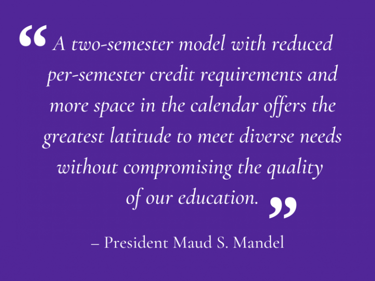 Mandel announces reduction of required courses from four to three, elimination of Winter Study for 2020-2021 academic year