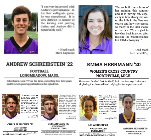 Four years on the field: Athletes of the week from the class of 2020