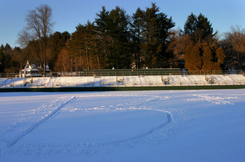 Brian Hirshman '06 revealed the true story behind the 'B+' on Amherst College's football field. (Photo courtesy of Brian Hirshman.)