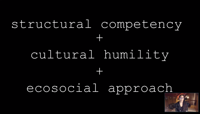 """Dr. Ruha Benjamin discussed three key aspects to preserving the """"virality"""" of racial justice advocacy: structural competency, cultural humility and an ecosocial approach. (Screenshot by Kit Conklin/The Williams Record.)"""