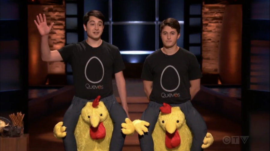 Zack Schreier '21 (right) and Nick Hamburger (left) don chicken costumes for their pitch to the investors on Shark Tank. (Photo courtesy of ABC.)